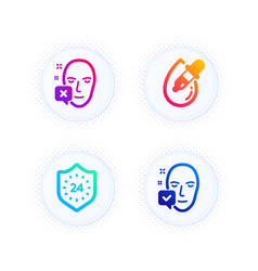 Eye drops 24 hours and face declined icons set vector