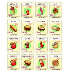 Fast food snacks sketch menu price cards vector