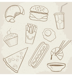 Food and Drink Hand Drawn Icons vector image