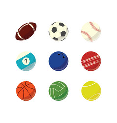 game sport balls simple icon set vector image