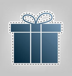 gift box sign blue icon with outline for vector image