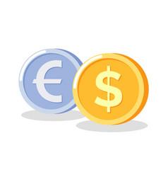 Golden and silver circle money coins icon vector