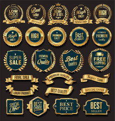 Golden sale badges and labels vector