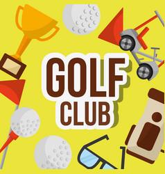 golf club ball trophy car bag flag glasses vector image
