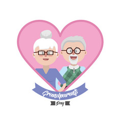 grandparent together inside heart with ribbon vector image