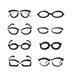Group of hand drawn glasses on white background vector