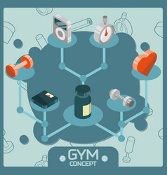 gym color isometric concept icons vector image