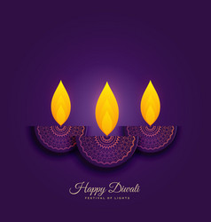 happy diwali holiday background with burning diya vector image
