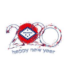 Happy new 2020 year with flag arkansas vector