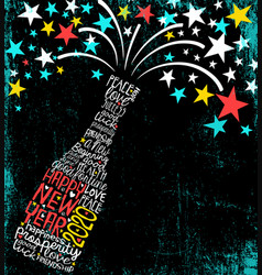 Happy new year 2020 exploding champagne bottle vector