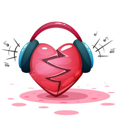 Headphones heart love - cartoon vector