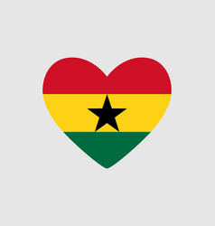 Heart of the colors of the flag of ghana vector