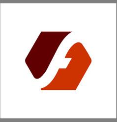 hexagon letter f negative space logo design vector image