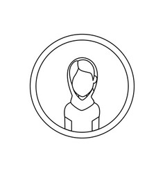 Islamic woman with traditional burka in circle vector