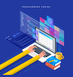 Isometric flat design concept programmer and vector