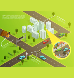 isometric infographic city navigation vector image vector image