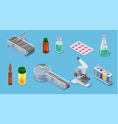 Isometric pharmaceutical industry elements set vector