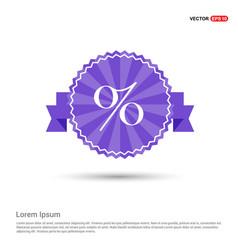 Labels percent price icon - purple ribbon banner vector