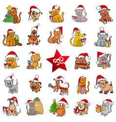 large christmas cartoons collection vector image