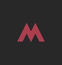 letter m monogram outline initial wedding vector image