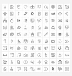 Line icon set 100 modern symbols container vector