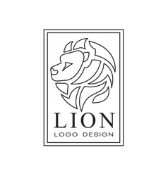 Lion logo design emblem with silhouette of wild vector