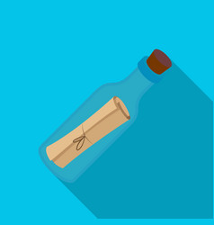 Message in the bottle icon in flat style isolated vector