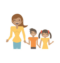 mom and children together happy vector image
