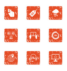 monitoring icons set grunge style vector image