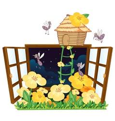 Mosquito bird house and window vector