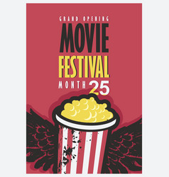 Movie festival poster with popcorn bucket vector
