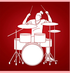 Musician playing drum music band graphic vector