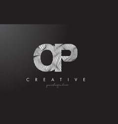 Op o p letter logo with zebra lines texture vector