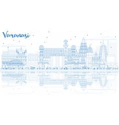 outline varanasi india skyline with blue vector image