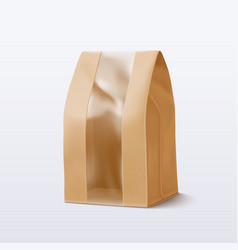 paper bag with transparent window vector image