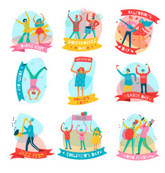 parade holiday people flat emblem set vector image