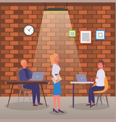 people working in office sitting at tables vector image