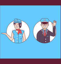 pilot or steward and stewardess icons vector image