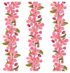 pink blossoming cherry branches seamless pattern vector image