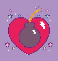 Pixelated videogame heart with bomb vector