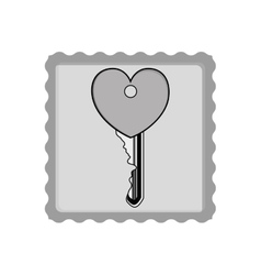 post stamp with heart key vector image