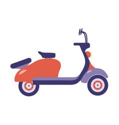 Red summer scooter icon vector