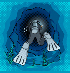 Scuba diver dives into the cave pop art vector
