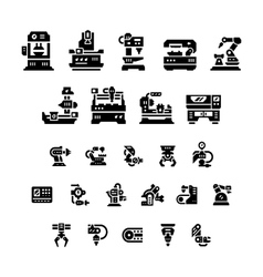 Set icons of machine tool robotic industry vector image