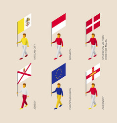 set of 3d isometric people with flags of europe vector image