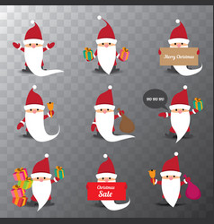 set of christmas cartoon santa claus isolated on vector image