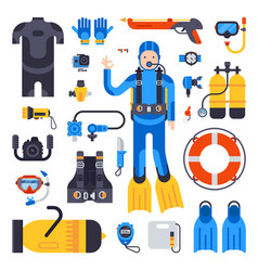 set of flat elements for spearfishing scuba diving vector image