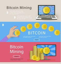 Set of horizontal bitcoin banners for web-sites vector