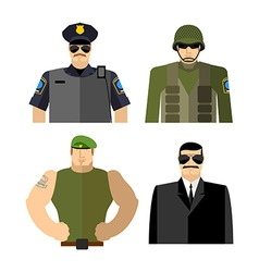 Set of men in work clothes Police and military vector