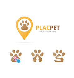 set of paw logo combination pet and gps locator vector image